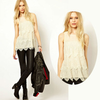 New Round Collar Lace Sheer Sexy Sleeveless White Color  Womens Vest Tank Tops Shirt #1007