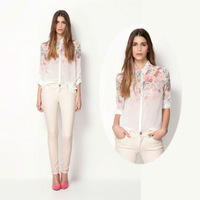 New Lapel Collar Button Flowers Variational Pattern Chiffon Long Sleeve Womens Shirts Tops Blouses #1006