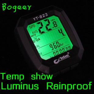 Free Shipping BOGEER Brand Luminous Mountain Cycling Bike Bicycle Riding Waterproof Speedometer Odometer Odograph Computer