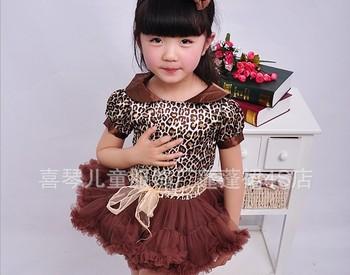 2013 Newest Design Branded Baby Girl leopard fashion elegant  cute dress kids Birthday tutu dresses Pink High Quality