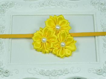 Wholesale Satin Ribbon Rosettes Flower Skinny headband with pearl Newborn headband Photo Prop Girls hair accessories 120pcs/Lot