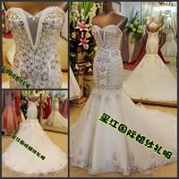 2013 Limited Edition Luxury Mermaid Sweetheart Crystal Bridal Gown Handmake Long Train Wedding Dress Free Shipping