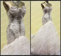 March 2013 New Design Floor Length Luxury Crystal Ruffled Sexy White Wedding Dresses Bridal Gowns Free shipping F06
