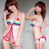 2013 seven color rainbow one piece bikini ds costume dress sexy female  club dresses