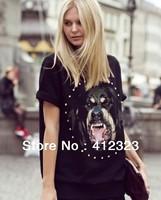 free shipping women lady girls short sleeve dog print dress blouse fashion sexy shirts clothing