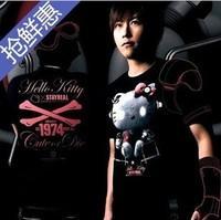 Hot Sale! Hello Kitty diamond tiara shirt bat loose cloak short-sleeved t-shirts man's t-shirt Women's T-shirt free shipping