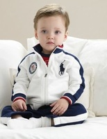 In Stock 2013 Children Clothing set,boy sweat suit, 100% Cotton  white coat +sport Pants ,free shipping