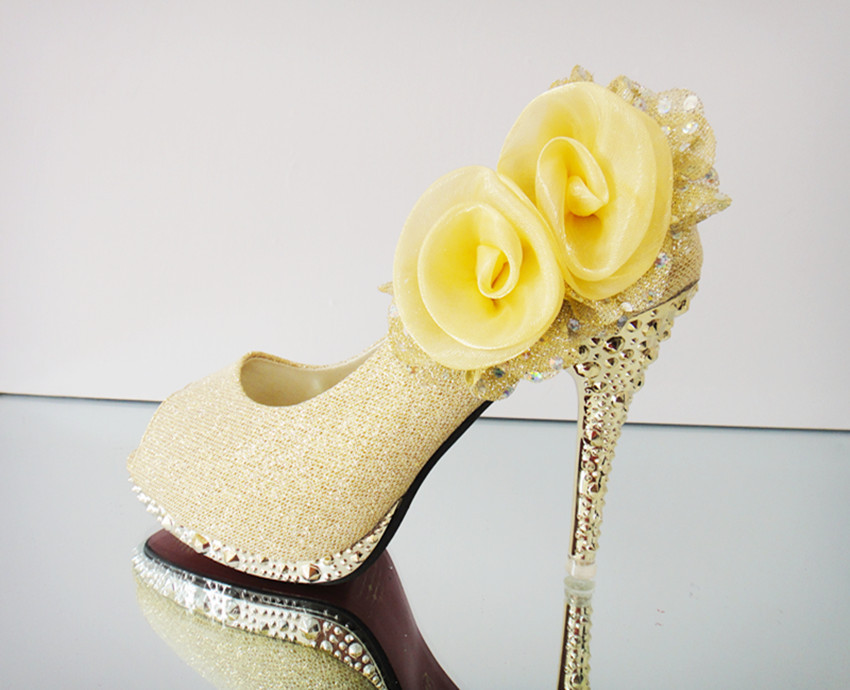 Yellow Bridal Shoes Low Heel 2014 UK Wedges Flats Designer Photos Pics Images Wallpapers