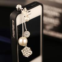 Italina New arrival mobile phone dust plug rhinestone sphere chain dust plug pearl pendant iphone6779