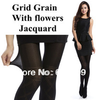 Free shipping Grid Grain With flowers Jacquard Pantyhose sexy and fashion Thin section Velvet Plus Modal Female legs socks