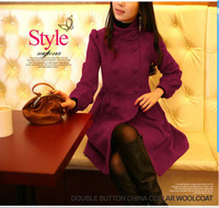 2013 spring women's plus size noble double breasted wool coat stand collar woolen overcoat female outerwear