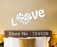 Free shipping!Love heart crystal three-dimensional wall stickers decoration supplies crystal mirror wall stickers