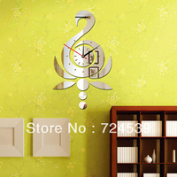 Free shipping!Best gifts for Wedding Swan 3D  mirror wall clocks ,crytal mirror wall stickers for kids room
