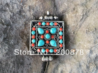 TGB191  Tibet silver Antiqued Square Prayer box,38x38mm,Tibetan Man Amulet GAU pendant,Low MOQ