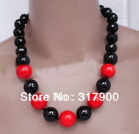 "18"" Black Agate & Red Coral Necklace"