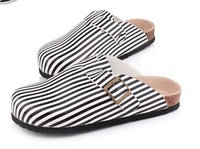 2013 NEW  Fashion rivet cattle velvet striped solid color printing  Women Sandals flats Wood Slippers size 35-43