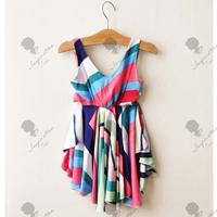 summer NEW 2013 Popular Asymmetrical Stripe Summer Girls Dress Children Clothing for 2-6year free shipping 5pcs/lot