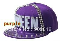 Free Shipping 2013 Punk Style, QUEEN letter flat brimmed hat, Plastic sheet rivets hip-hop cap, Snapback caps