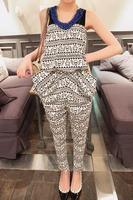 2013 spring personalized pattern pocket cotton harem pants tube top jumpsuit