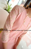 Gold the wind lace half sleeve patchwork elegant op one-piece dress pink white black green