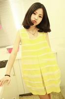 Stripe chiffon patchwork sweep cute shirt sleeveless vest chiffon one-piece dress