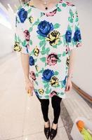 2013 spring vintage flower graphic patterns loose medium-long basic shirt short-sleeve T-shirt female