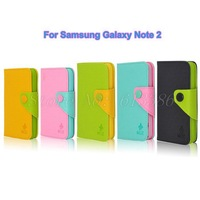 Dual Color Pu Leather Case Wallet Case for Samsung Galaxy Note 2 N7100, Free Shipping