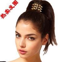 NEW ARRIVE FASHION punk style multi layers rivet spike stretch ponytail holder hair band tie rope hair ring(mixed order$10)