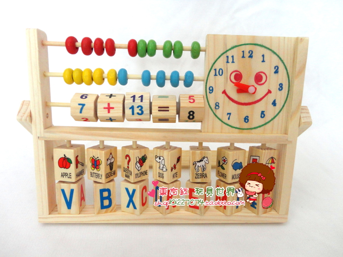 Wooden child calculation frame multifunctional calculation frame toy flap alarm clock calculation frame wooden child early(China (Mainland))