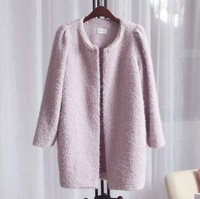 2013 spring pearl elegant plush fleece outerwear overcoat m13119