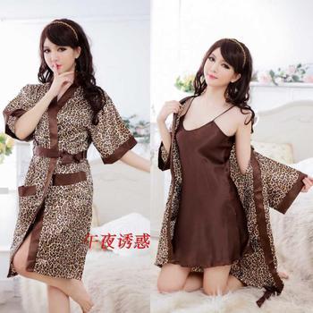 Noble uniforms leopard print set kimono the temptation to open front plus size female sexy nightgown