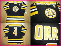 Free Shipping Black Boston Bobby Orr jersey #4 Home CCM Man Size S-3xl cheap wholesale ice hockey jersey long sleeve t shirt
