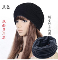 2013 new unisex solid color knitted wool beanies hat for women men free shipping 5 colours     black  m1174-1