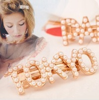 Min.order is $10  (mix order),2013 NEW vivi PARIS millet pearl pearl letters hot temperament lovely hairpin,Free shipping