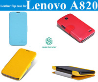 "1xScreen protector + ""Nillkin"" brand Fresh series Leather flip case For Lenovo A820 Colorful Fashion Minimalism"