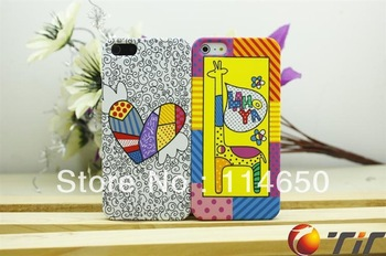 5pcs/lot Free shipping Hot cute graffiti painting cover case for iphone 5 5G cell phone case decoration bags with retail package