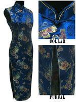 Navyblue Fashion Chinese tradition Wedding Evening dress Cheongsam Qipao Long  Dress  Size S TO XXXL FREE SHIPPING