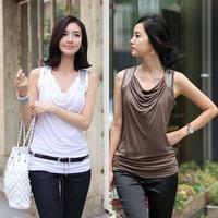 2014 Plus Size T shirt Women Tops Tee Shirt Slim Down Collar Vest LT001