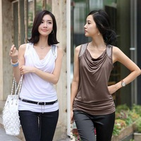 2014 Plus Size T shirt Women Tops Tee Shirt Slim Down Collar Vest LT001