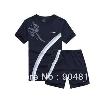 Wholesale free shipping 2013 summer Li Ning men's badminton/Table tennis sports suits shirt + shorts