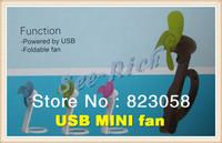 2013 New style! USB MINI Fan / USB Foldable Fan / Fan blade is safe soft material / Wind stronger / Red/Blue/Green Free shipping