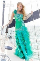 One-Shoulder Graceful! 2012 New Sexy Peacock feather Organza Evening dress Party dress Prom Dresses