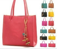 2013 New Fashion Style Ladies' Handbag pu Leather Tote/Shoulder/Messenger bag   PU Leather Shouler bag design flower  tassels