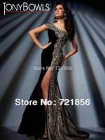 TD-47 Crazy Hot!!Sexy One-shoulder Split Beads Crystal Tony Bowls Evening Dresses 2014
