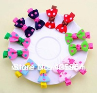 30pcs/Lot  Kids/Girl/Princess/Baby Spot Printing Ribbon Hair Clip/Hair Accessories Color Mix