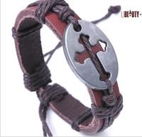 (Minimum ORDER $10)  new Europe type style, leather bracelet with the cross, alloy bracelet, interesting gift 1029