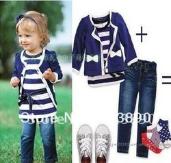 wholesale--new cotton baby girl sets three-piece dress(top+t shirt+jeans) 5sizes,child clothes set,infant tee shirt+coat+jeans,(China (Mainland))