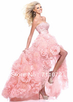 Custom Made Luxury Long Train Organza handmade Flowers Pink Designer Front Short Long back Sweetheart Prom Dresses