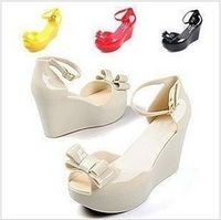 Mlsa fashion all-match candy color bow wedges platform open toe sandals jelly shoes female