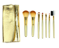 7 PCS Professional Makeup Cosmetic Brush set Gold Brush bristle And Brush handle Kit Case H1014R Fshow